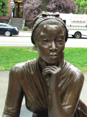 Phillis Wheatley statue at the Boston Women's Memorial, Commonwealth Avenue Mall, Boston.